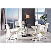 Roma Black Glass and Stainless Steel Frame 150 cm Dining Table with 4 Ivory Zed Chairs