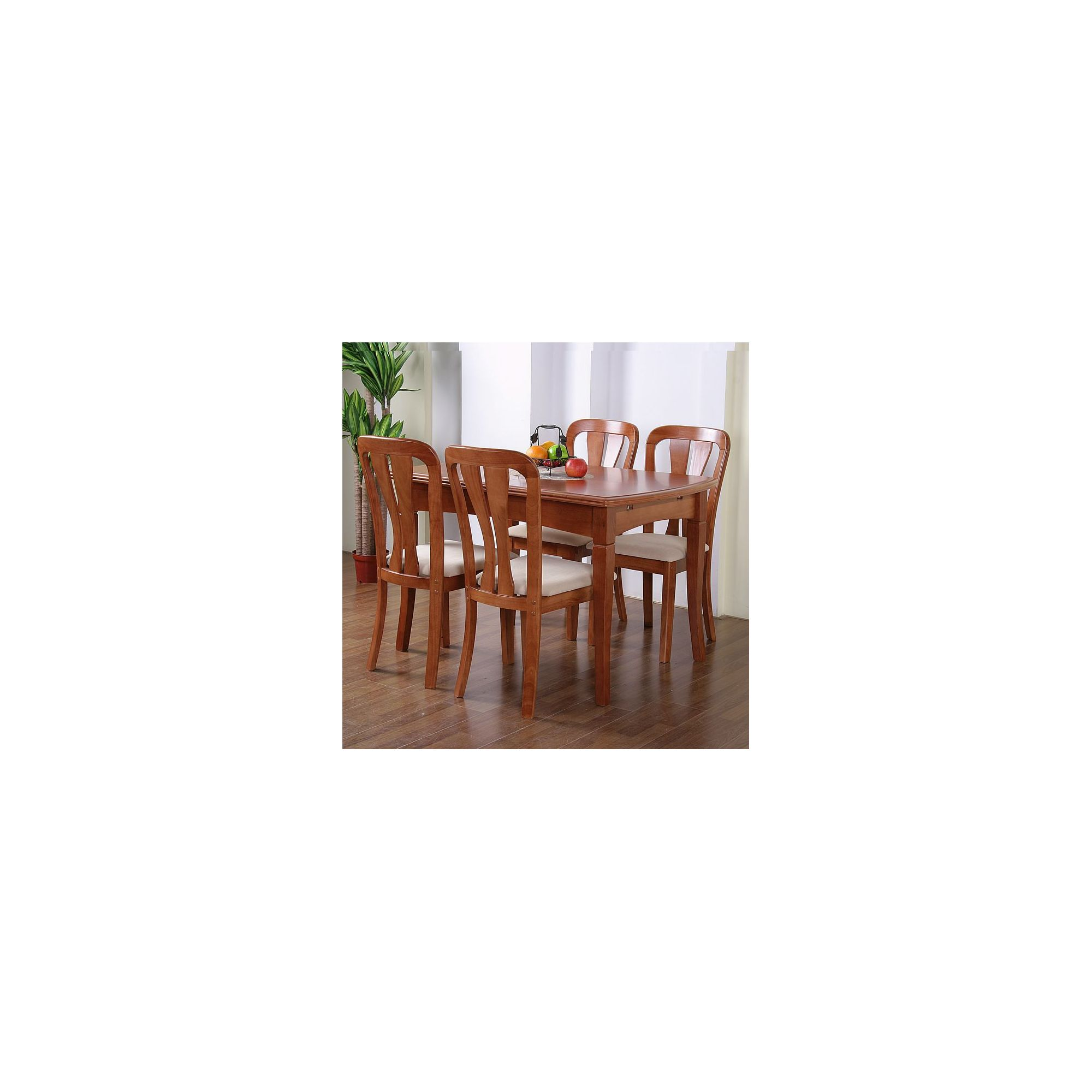 G&P Furniture Windsor House 5-Piece Grantham Extending Dining Set with Slatted Back Chair - Cherry at Tesco Direct