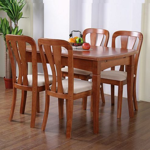 G&P Furniture Windsor House 5-Piece Grantham Extending Dining Set with Slatted Back Chair - Cherry