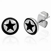 Stainless Steel Black Star Stud Earrings 7mm