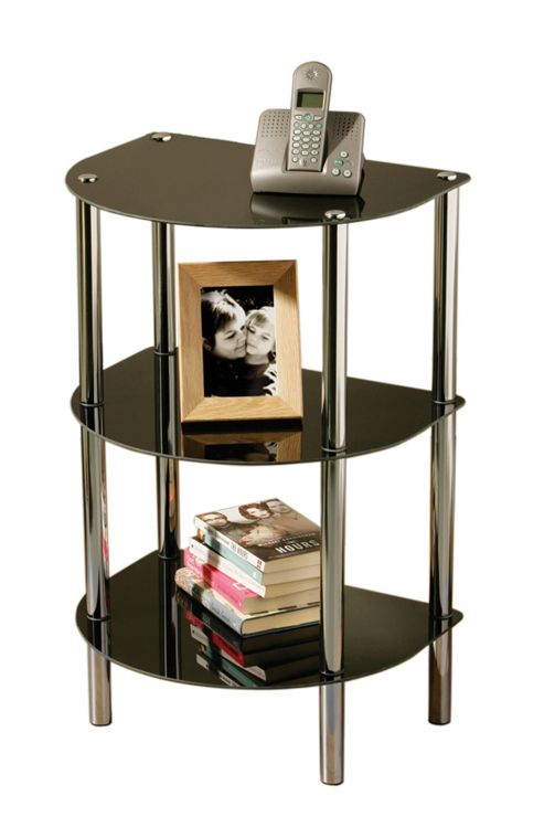 Premier Housewares Three Tier D Shape Shelf Unit - Black