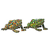 Set Of Two Green & Harlequin Mosaic Resin Frog Ornaments