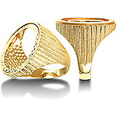 9ct Gold Full Sovereign Size coin mount Ring ribbed shoulders