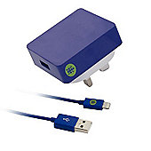 Tortoise™ Look Lightning Mains Charger iPhone 5 Blue