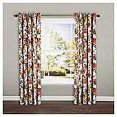 "Hand Painted Floral Eyelet Curtains W162xL137cm (64x54""), Red"