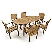Stapleford 6 Seater Extending Oval Teak Set - Outdoor/Garden table and Chair set.