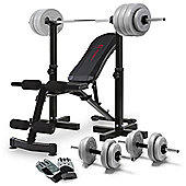 """Marcy Eclipse Dumbbell Bench With Stands, 50kg Weight Set and Gloves"""