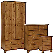 Nordic Pine Bedside, 2+4 Chest, 2 Door 2 Drawer Robe Package