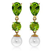 QP Jewellers Pearl & Peridot Hour Glass Droplet Earrings in 14K Gold
