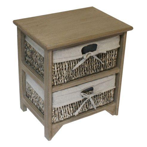 JVL Maize 2 Drawer Wood Cabinet - Earth