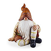 Juniper the Large Sitting Woodland Resin Garden Gnome Ornament with Brown Hat