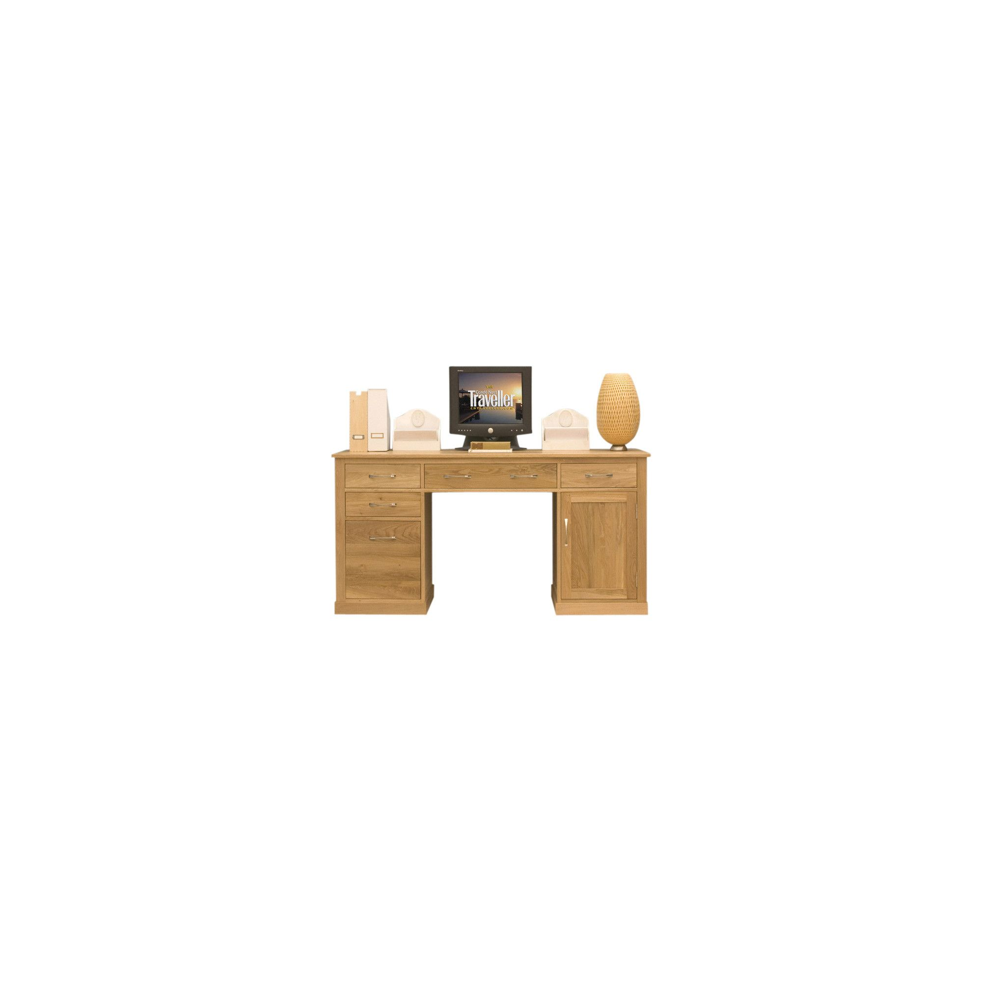 Baumhaus Mobel Oak Twin Pedestal Computer Desk at Tesco Direct