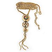Gold Tone Crystal Tassel Necklace - 38cm Length/ 6cm Extension