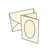 Cards 2/Fold Mini Ivory with oval aperture 10 Pk