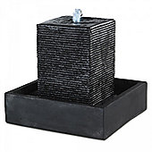 Black Ribbed Pillar Water Feature with White LED's