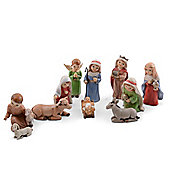 Vintage Style Ten Piece Christmas Nativity Set