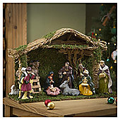 Porcelain/Wood Nativity 10Pc Set
