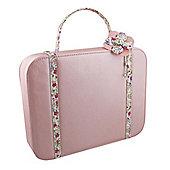 Pink Floral Trim Jewellery Case