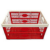 Tesco 32L Plastic Folding Crate, Red/White