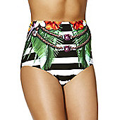 South Beach Striped Hawaiian Floral Print High Waisted Bikini Briefs - Multi