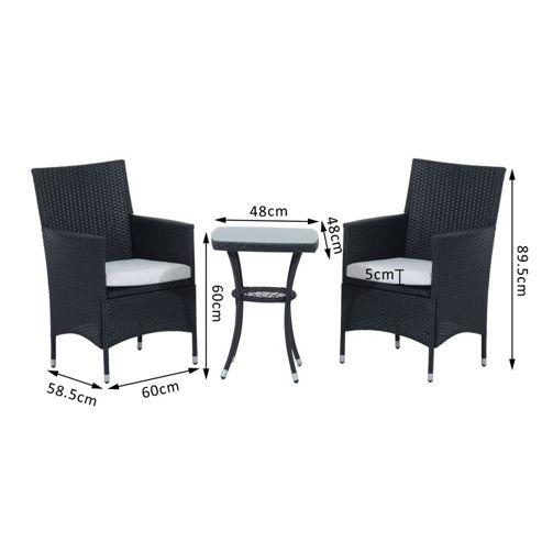 buy outsunny 3pc rattan furniture bistro set garden table. Black Bedroom Furniture Sets. Home Design Ideas
