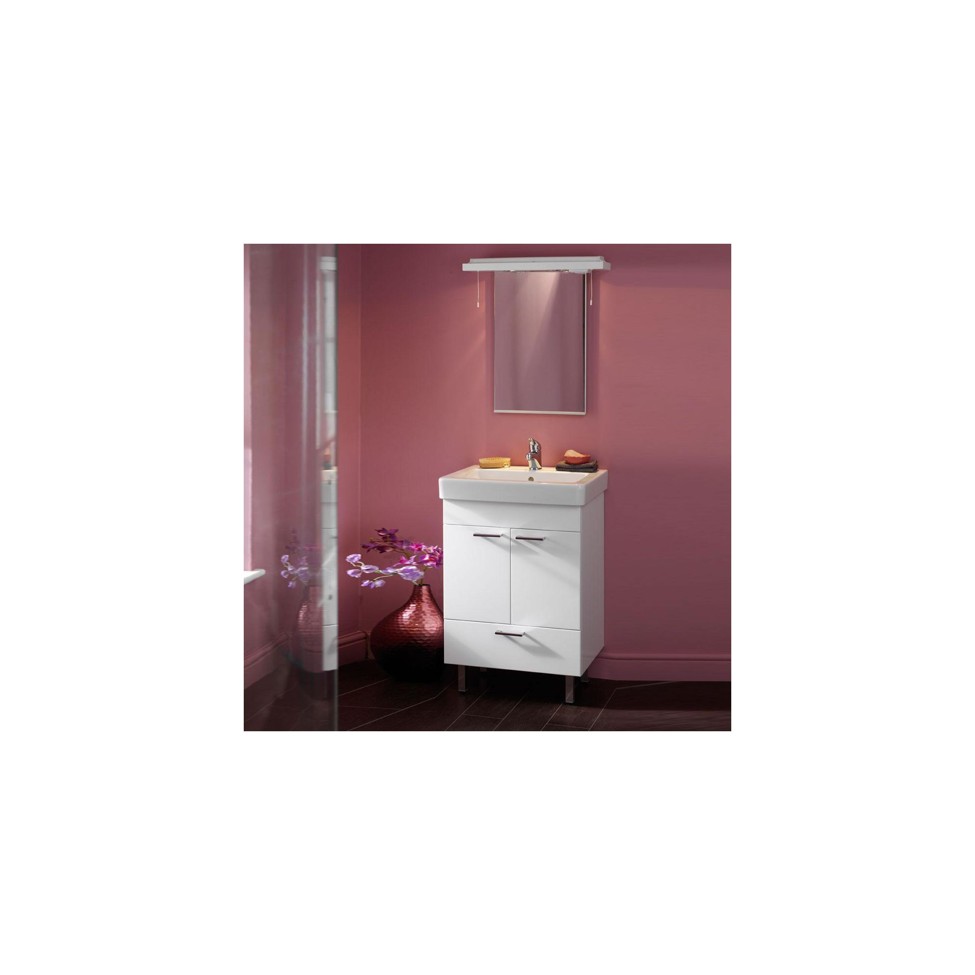Duchy Trerise White Floor Standing 2 Door 1 Drawer Vanity Unit and Basin - 600mm Wide x 445mm Deep including Mirror and Cornice