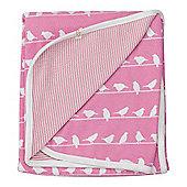 Pigeon Organics Reversible Blanket, Silhouette (Pink Bird)
