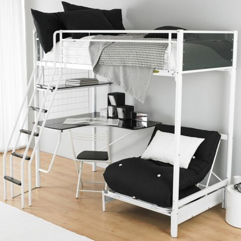 Hyder Cosmic Studio Bunk Bed - Silver/Black Glass - Mattress and Futon Included
