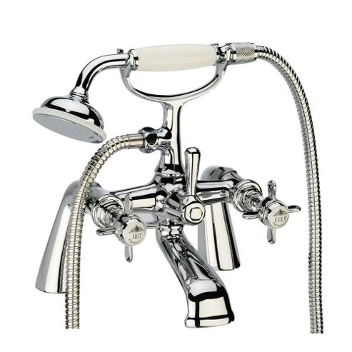 Tavistock Varsity Pillar Mounted Bath Shower Mixer Tap with Shower Kit