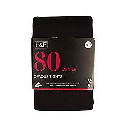 F&F 2 Pack of Opaque 80 Denier Tights L Black