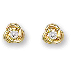 Jewelco London 9ct Yellow Gold Knot design Studs with rub-over set CZ stone centre