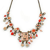 Vintage Inspired Light Coral Crystal, Enamel Flowers, Freshwater Pearls Charm Necklace In Bronze Tone - 38cm Length/ 8cm Extension