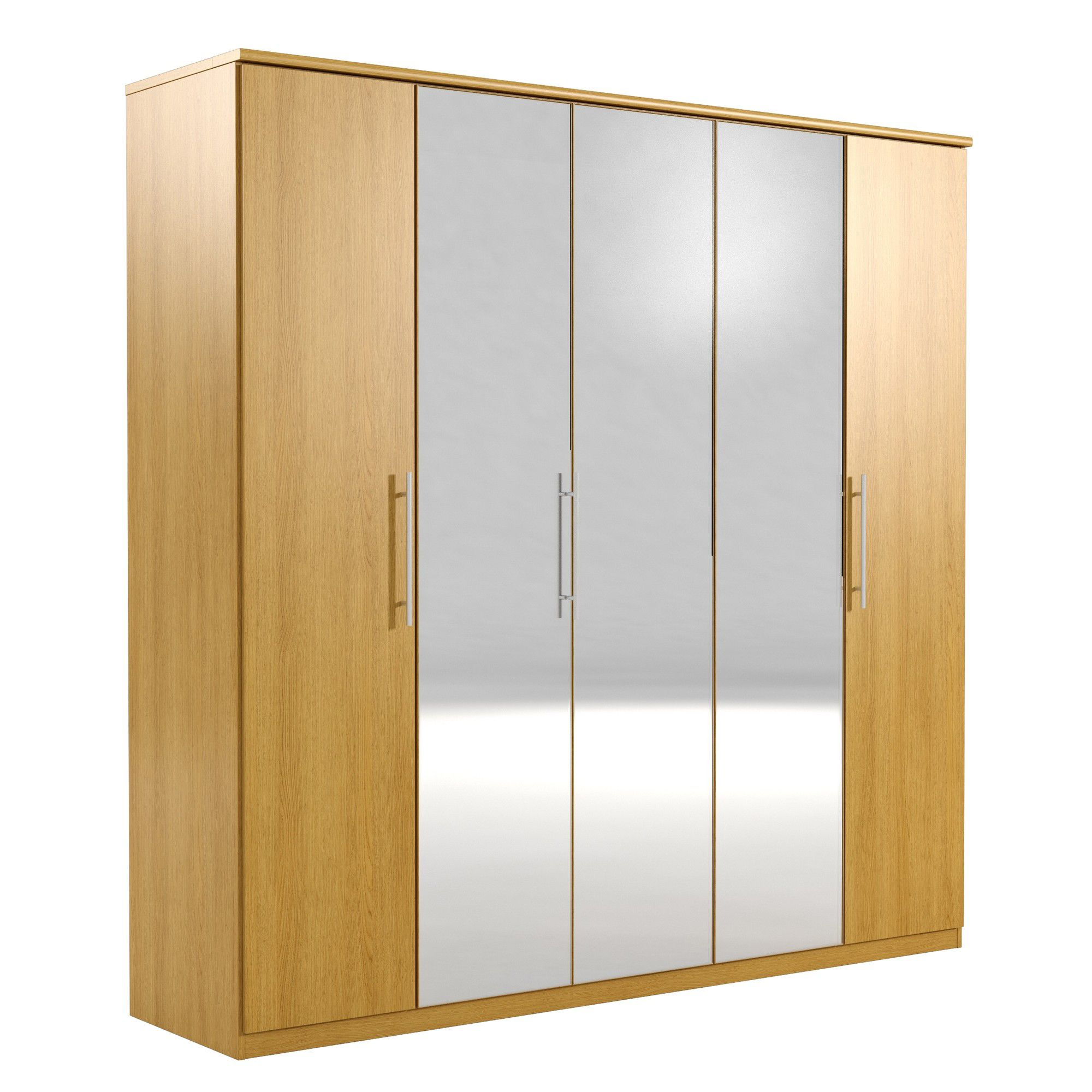 Urbane Designs Prague 5 Door Wardrobe - Oak at Tesco Direct