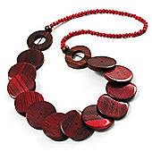 Chunky Wood Button & Bead Necklace - 72cm Length