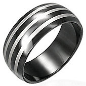 Urban Male Men's Black Stainless Steel Banded Pattern Ring 8mm