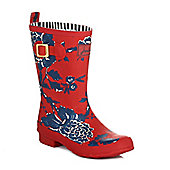 Joules Womens Dark Red Peony Floral Wellington Boots - Red
