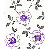 Arthouse Diva Motif Purple Wallpaper
