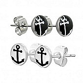Urban Male Two Pair Set Black & White Anchor Design Stud Earrings