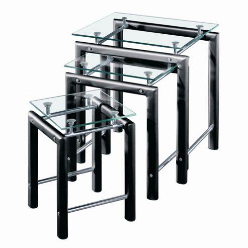Premier Housewares 3 Piece Nest of Tables with Clear Glass Top