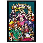 Black Wooden Framed The Big Bang Theory Superheroes Poster