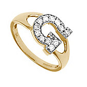 Jewelco London 9ct Gold Ladies' Identity ID Initial CZ Ring, Letter G - Size M