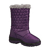 Frosty Womens Fur Trim Quilted Winter Snow Boots - Purple