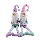 Set of Two Father Christmas Ornamental Fabric Edge Sitter Decorations