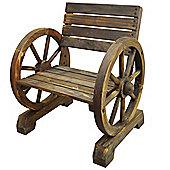 Cartwheel - Solid Wood Single Garden Seat - Burntwood