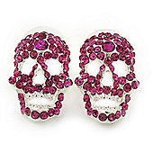 Small Dazzling Fuchsia Crystal Skull Stud Earrings In Silver Plating - 2cm Length