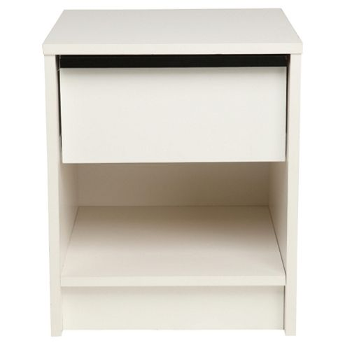 Trenton 1 Draw Bedside Table, White/Black