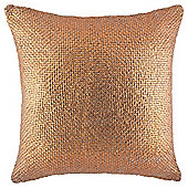 Metallic Print Knit Cushion Copper