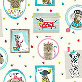 Hall of Fame Dogs and Cats Wallpaper - Cream - Arthouse 668400