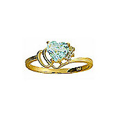 QP Jewellers Diamond & Aquamarine Passion Heart Ring in 14K Gold