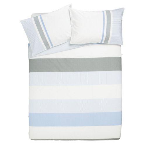 Tesco Pure Cotton Chambray Stripe Double (Blue)